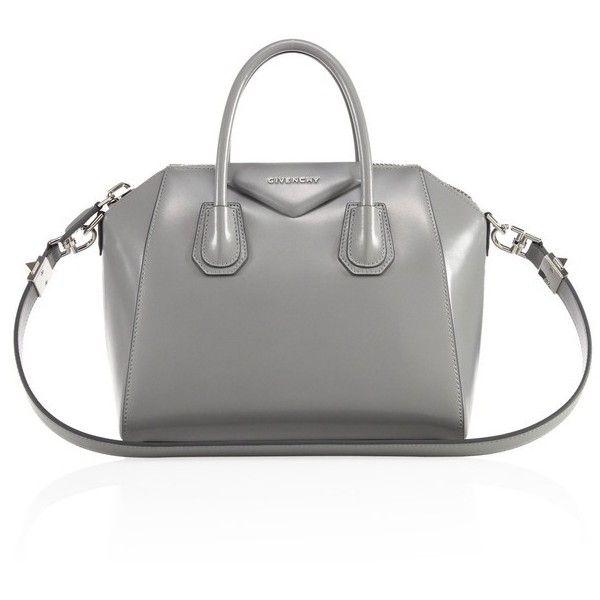 Givenchy Antigona Small Glazed Leather Satchel (34.680 ARS) ❤ liked on Polyvore featuring bags, handbags, pearl grey, satchels, structured handbags, structured purse, satchel handbags, gray purse and top handle handbags