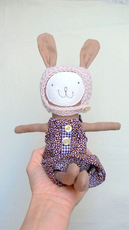 Bunny Girl dress up bunny doll in brown dress and by MiniwerkaToys ...