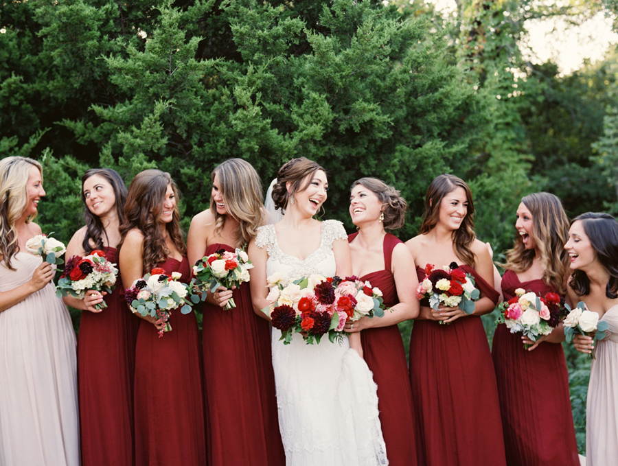 Beautiful bridesmaids wearing Bella Bridesmaids gowns and holding ...