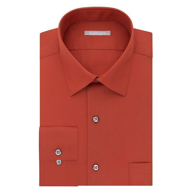 b0b404d179655 Men s Van Heusen Athletic-Fit Solid Lux Sateen No-Iron Spread-Collar Dress  Shirt