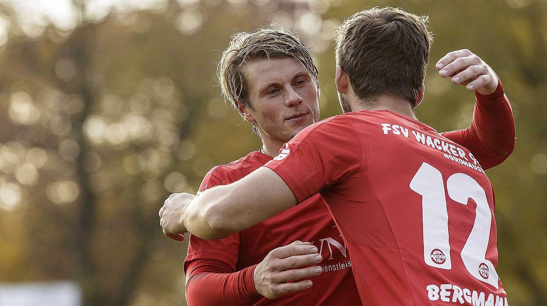 Trifft gegen Luckenwalde doppelt: Nordhausens Corvin Behrens (l.). | Foto: imago/Björn Draws - http://DRAWS.PHOTOGRAPHY