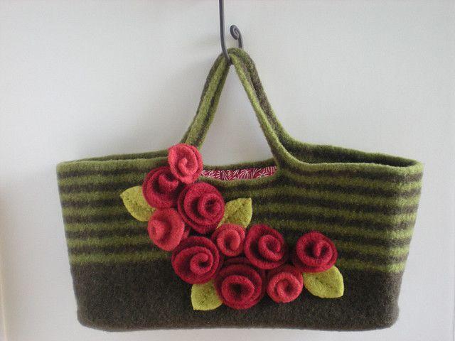 hand knit, felt handbag with flowers