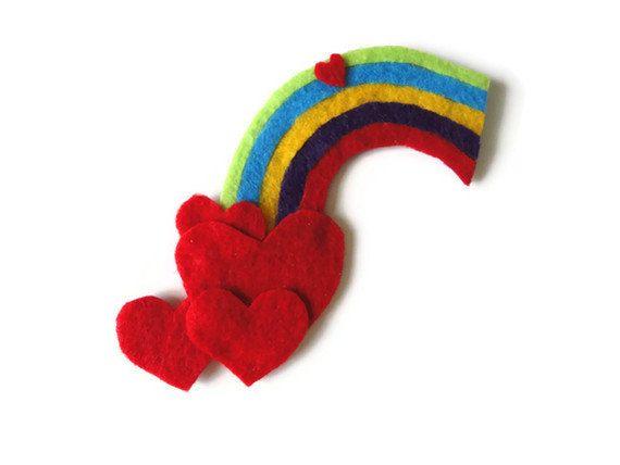 Fieltro corazón arcoiris