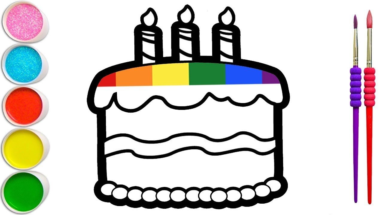 Rainbow Colors Birthday Cake Drawing And Coloring For Kids Toddlers Cake Drawing Coloring For Kids Drawing Videos For Kids