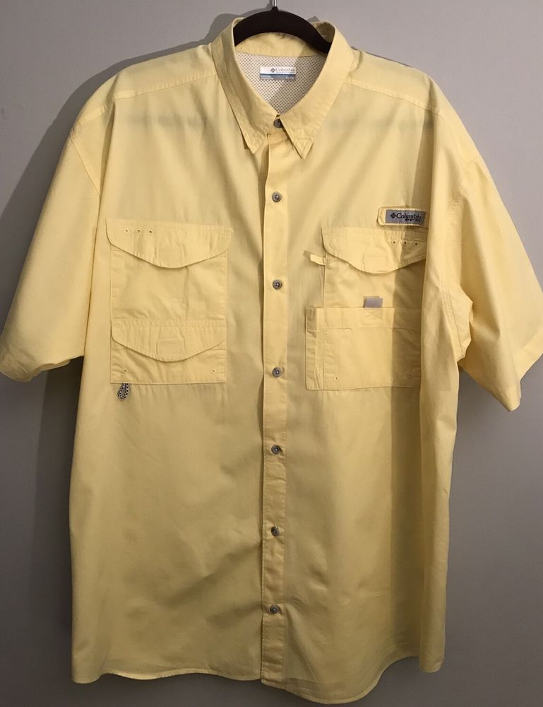 c8effcbaa07 Columbia PFG Performance Fishing Gear Mens Button Up Shirt Yellow XL # Columbia #ButtonFront
