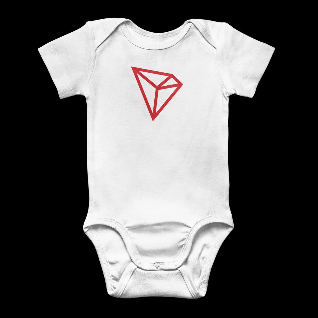 TRON [TRX]: Logo Classic Baby Onesie Bodysuit - White / 3 to 6 Months