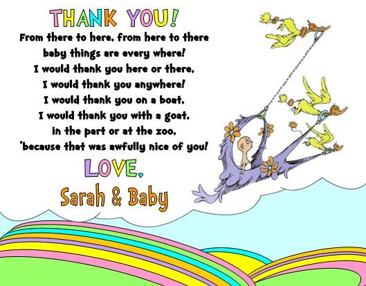 Dr Seuss Places YouLl Go Baby Shower Party Thank You Note Cards