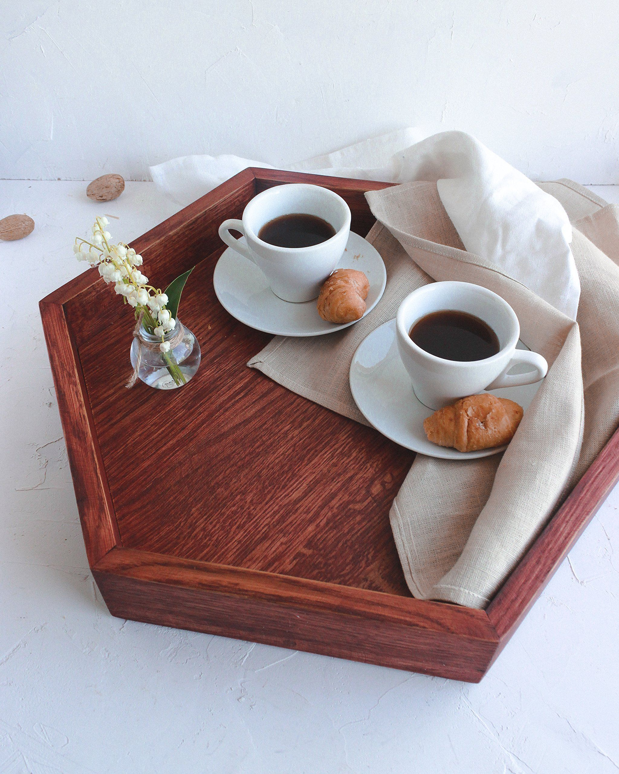 Large Decorative Serving Trays Delectable Large Wooden Hexagon Tray 18 Inchwoodenstuff Decorative Design Ideas