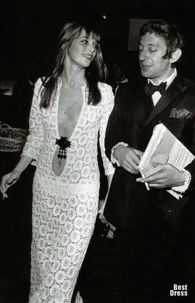 Jane Birkin and Serge Gainsbourg,1969. the crocheted dress is by Emilio Pucci. #iconic
