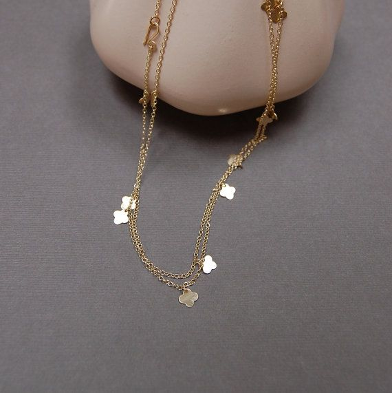 Lots of Luck Clover Necklace 14K GOLD Forest by CoconutCanopy, $56.00