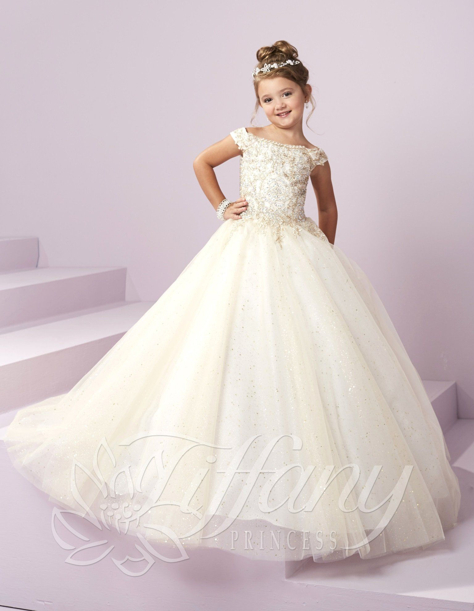 22f6f89827f5 Girls Long Off The Shoulder Dress by Tiffany Princess 13482 ...