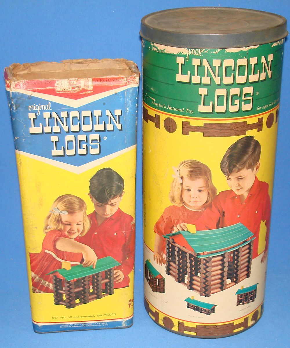 Lincoln Logs 3c 5c Cannister Sets