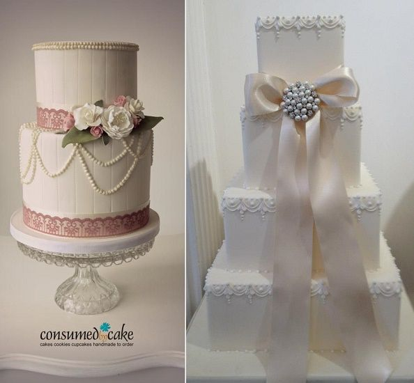Beaded Trim Wedding Cake By Consumed Left Classical Right Via Squires