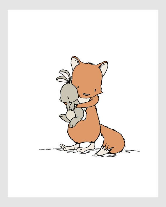 Woodland Nursery Art -- Time For Hugs -- Fox and Bunny -- by SweetMelodyDesigns