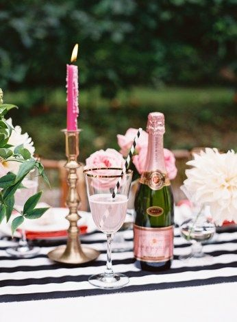 Greenery On Wooden Chair For Black And Pink A Modern Whimsical Backyard Party