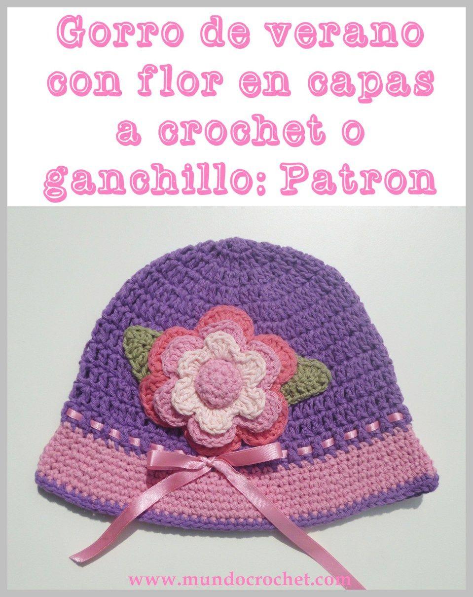 Gorro de verano con flor en capas para niña a crochet o ganchillo ...