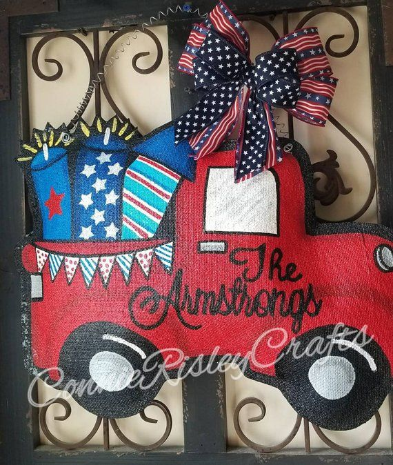 Fireworks Truck Fourth Of July Burlap Door Hanger Decoration And Wreath Replacement Burlap