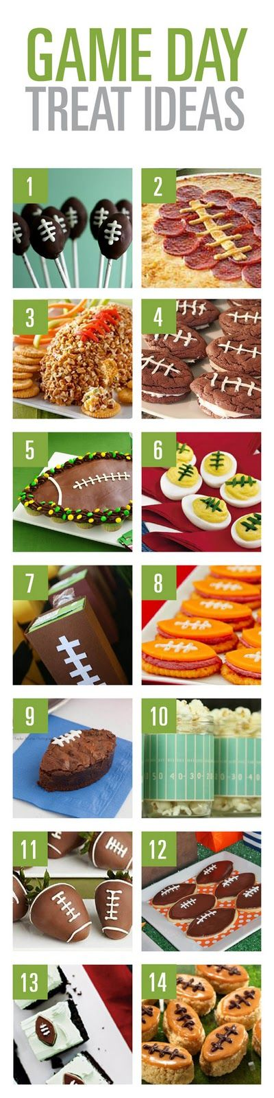 Football themed recipes for dessert and snacks for game day parties.