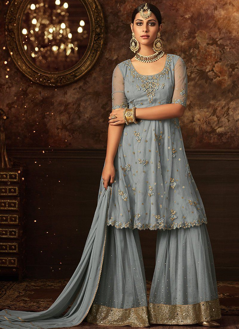 9134e9c118 Blue Heavy Embroidered Party Wear Sharara Salwar Suit. Net top with Santoon  Inner and Santoon bottom, Chiffon Dupatta. 100% Original Company Product  with ...