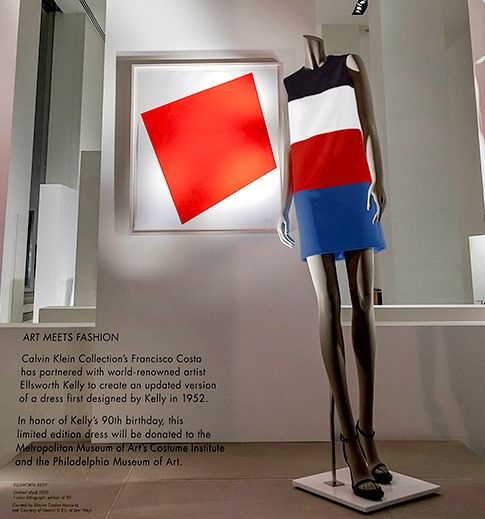 aa0fd79b789 CALVIN KLEIN + KELLY at MET Museum. Calvin Klein Collection and painter  Ellsworth Kelly made a joint-venture to recreate and modernize a dress  designed by ...