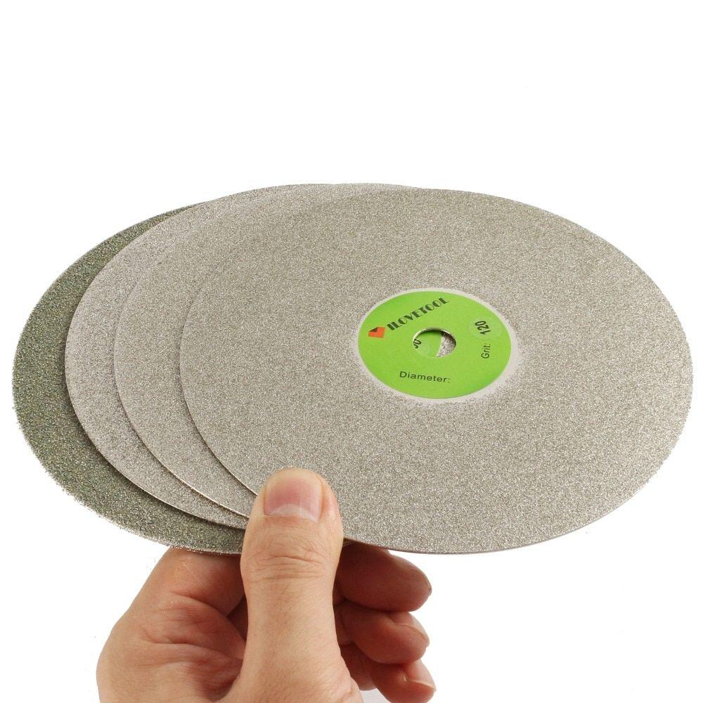"4/"" 100mm 60# Diamond Coated Flat Lap Wheel Lapidary Polishing Grinding Disc"