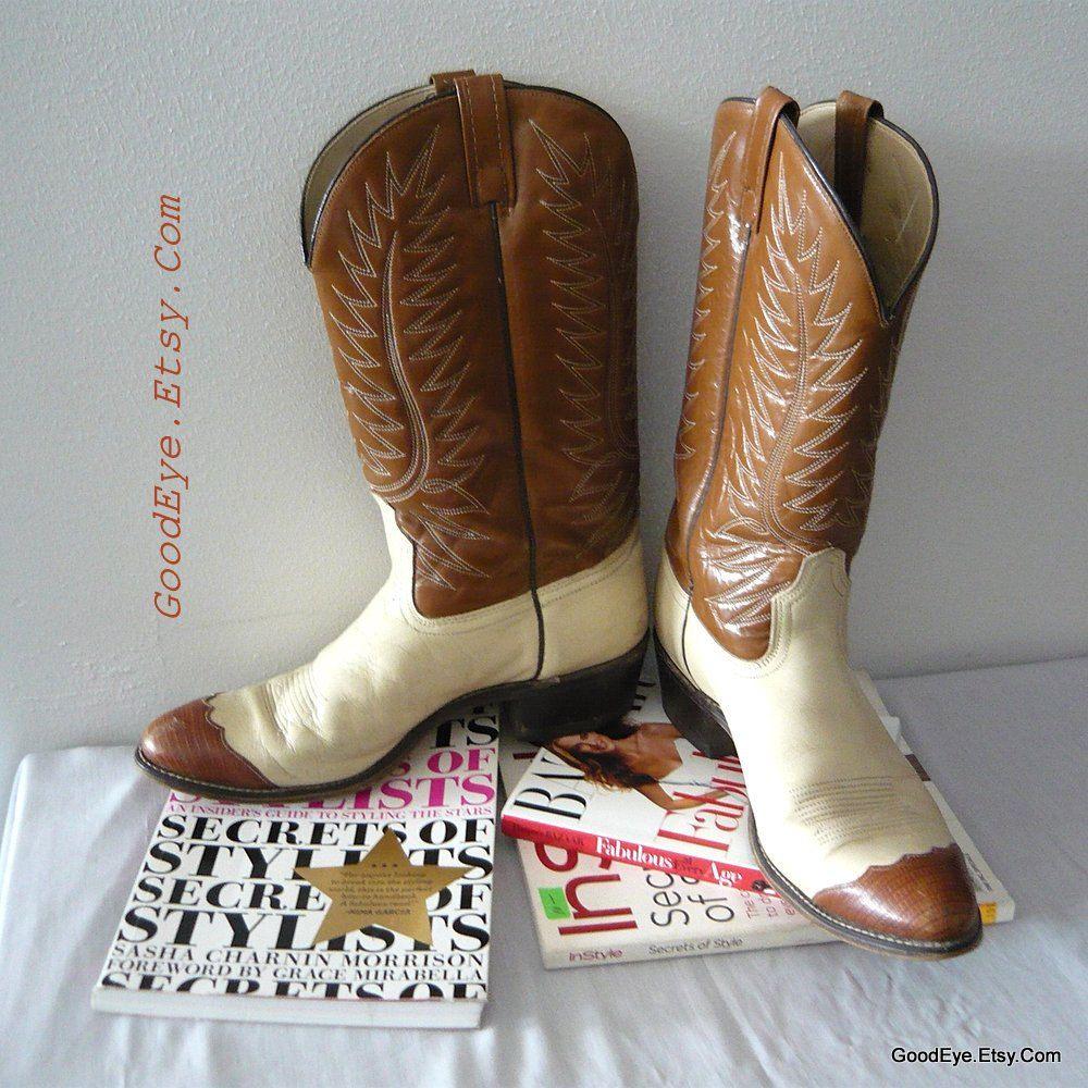 3e81e72c414 Vintage Two Tone Leather Western Boots Mens size 12 B Eu 45 UK 11.5 ...