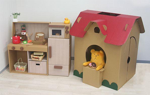 cardboard house & kitchen