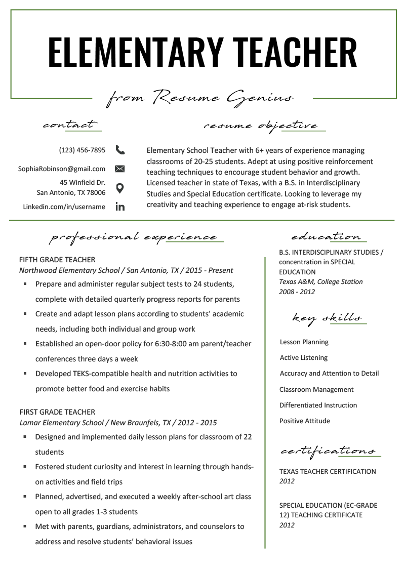 resume for elementary teacher - Orgsan.celikdemirsan.com