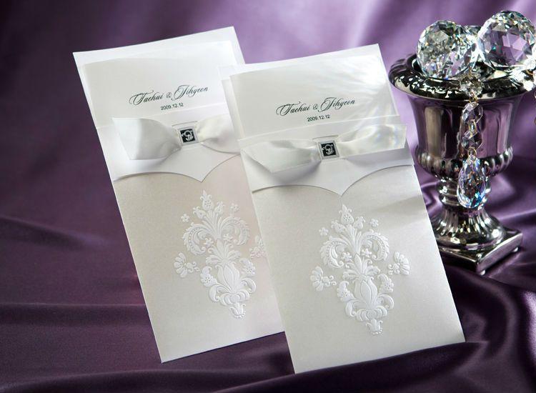Set Sample Vintage White FlorDeLis Wedding Invitation With