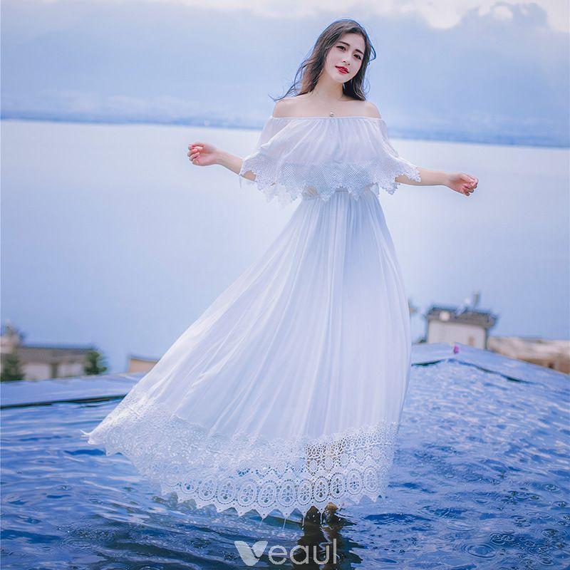 Modest simple white honeymoon maxi dresses 2019 aline
