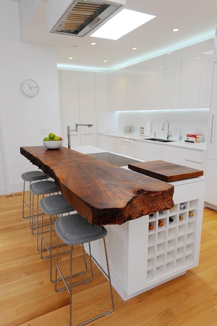 Cuisine blanche et bois: 40 idées glorifiant le design sophistiqué ...