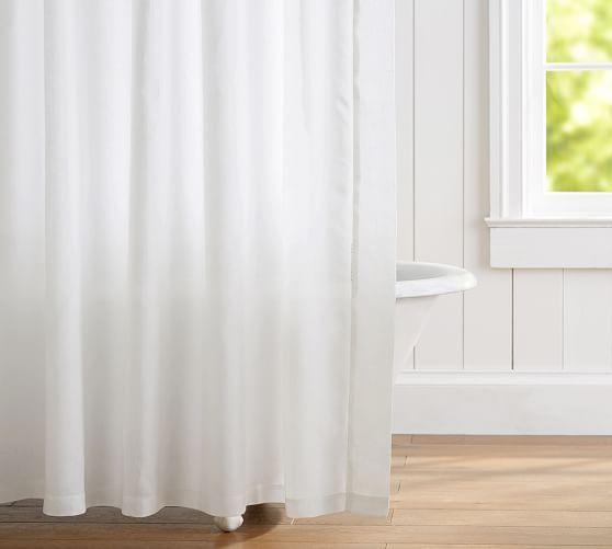 Belgian Flax Linen Hemstitch Shower Curtain Shopping For Bath
