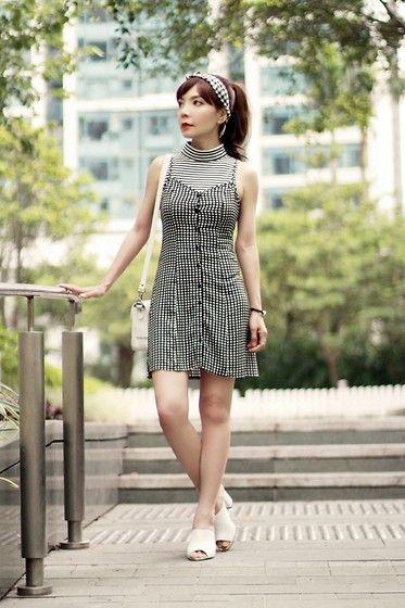 Murua Stripes Top, H&M Checks Dress, Topshop White Mules