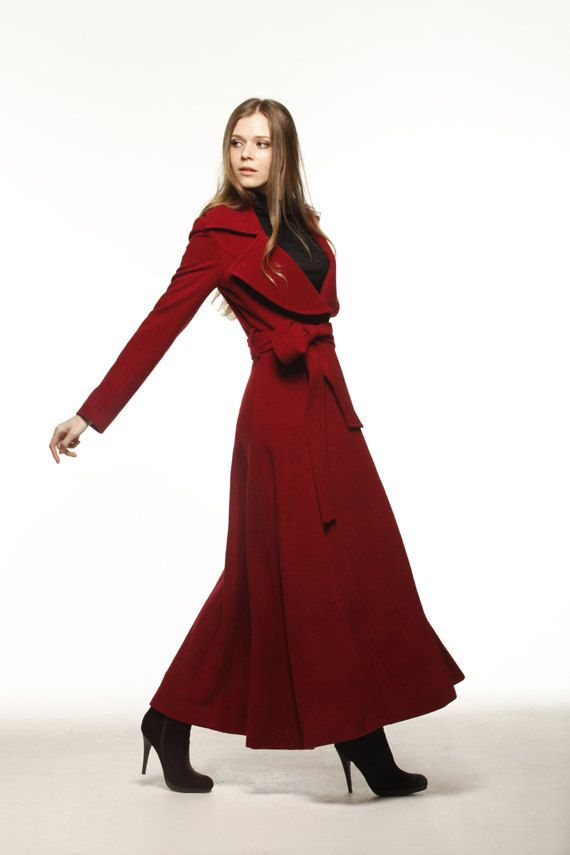Wine Red Cashmere Coat Big Lapel Women Wool Winter Coat Long ...