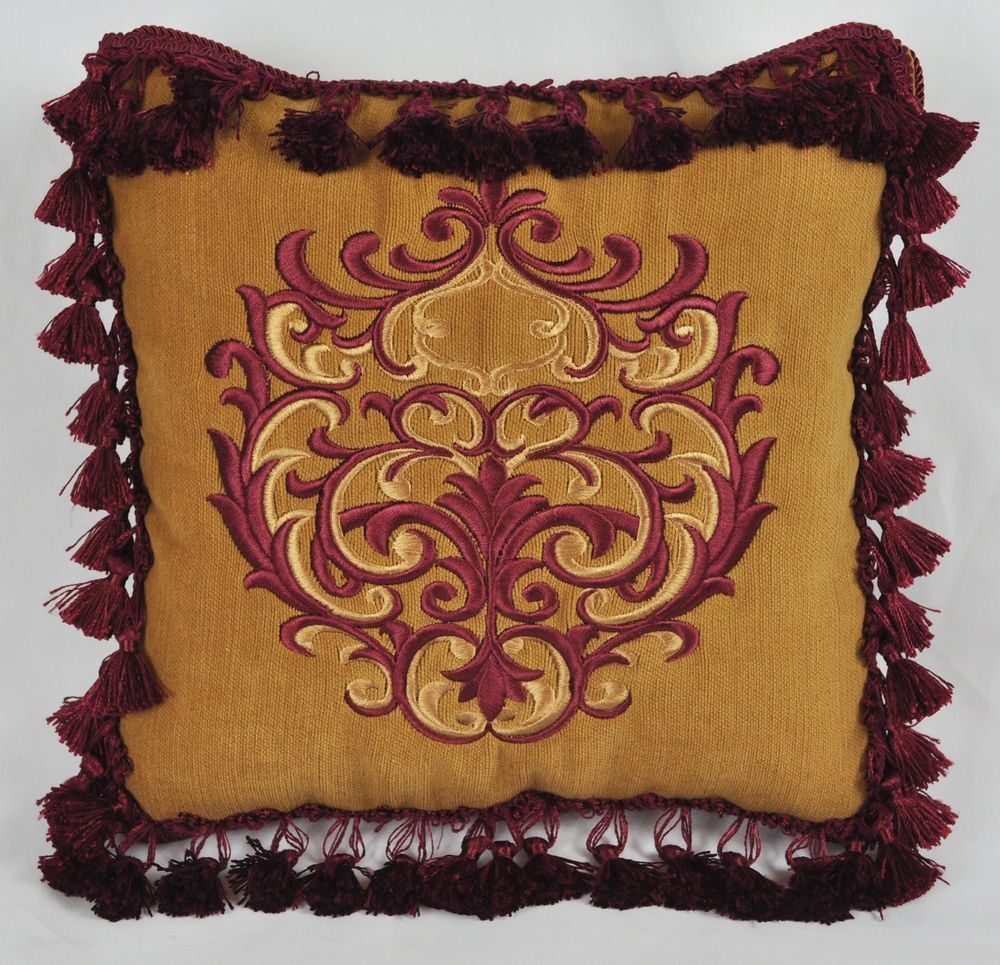 Embroidered Pillow Made w Butterscotch Velveteen Fabric 12x12 Trim Tassels 12"