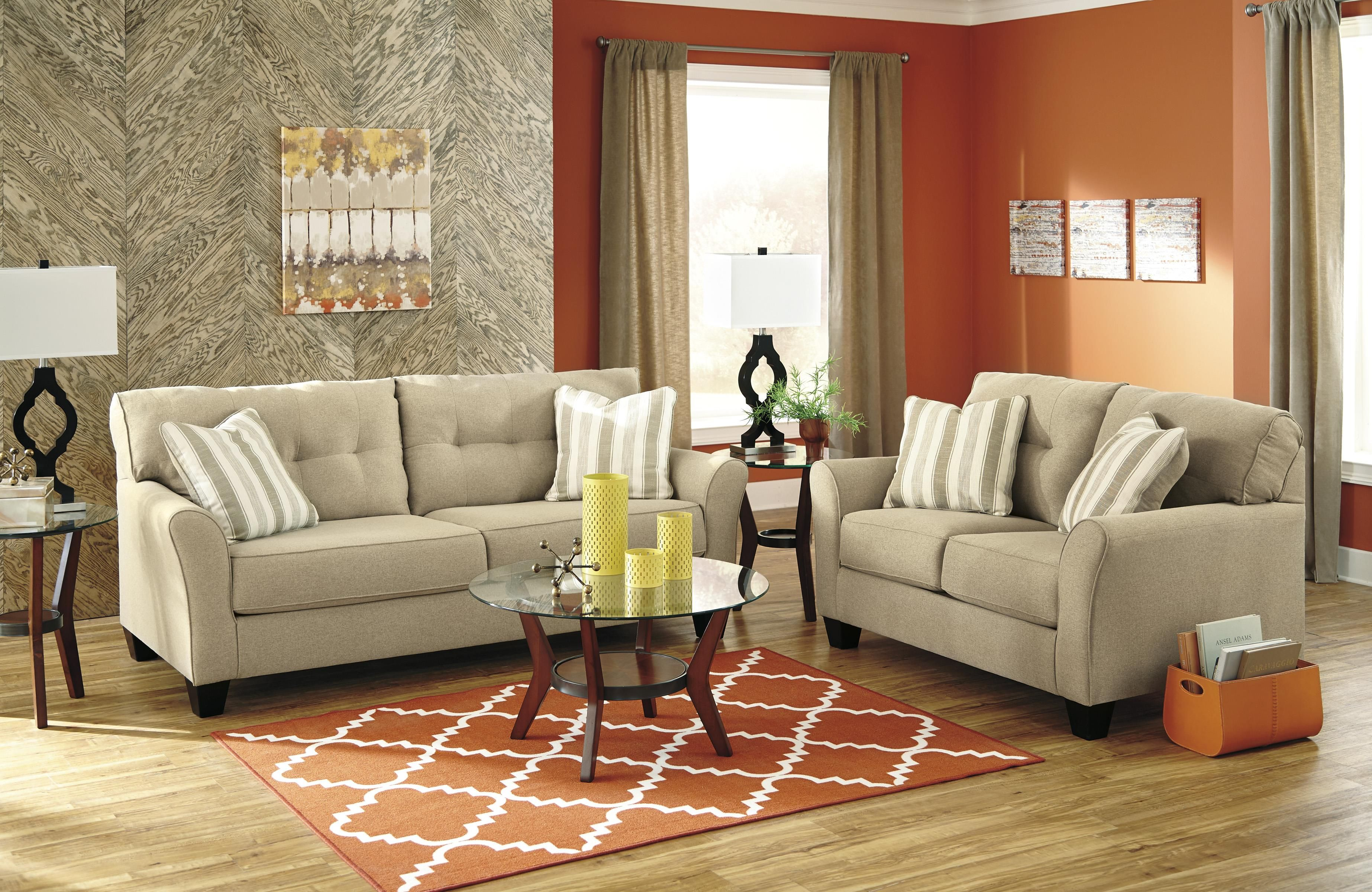 Contemporary Sofa In Khaki Fabric By Benchcraft Wolf And Gardiner