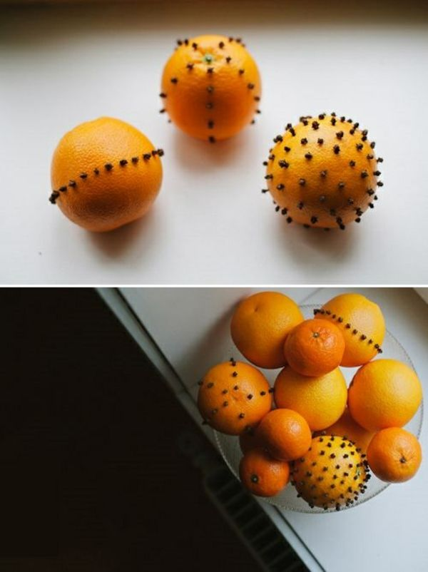 Weihnachtsschmuck basteln orangen mit nelken knospen in schale