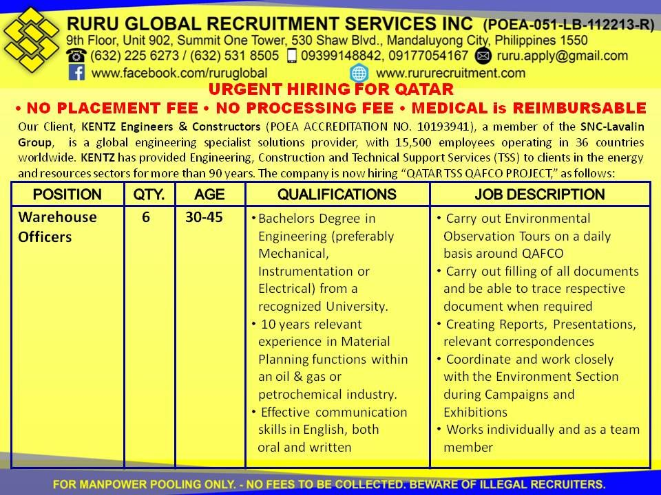 Hiring for Qatar Warehouse Officers Warehouse Officers 30-45 - warehouse skills