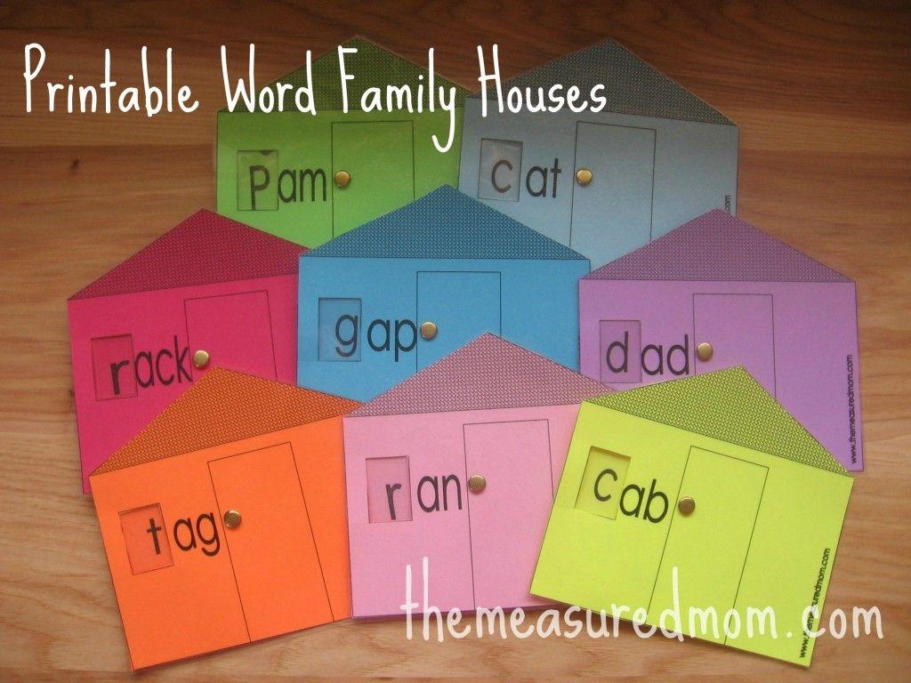 8 Printable Word Family Houses
