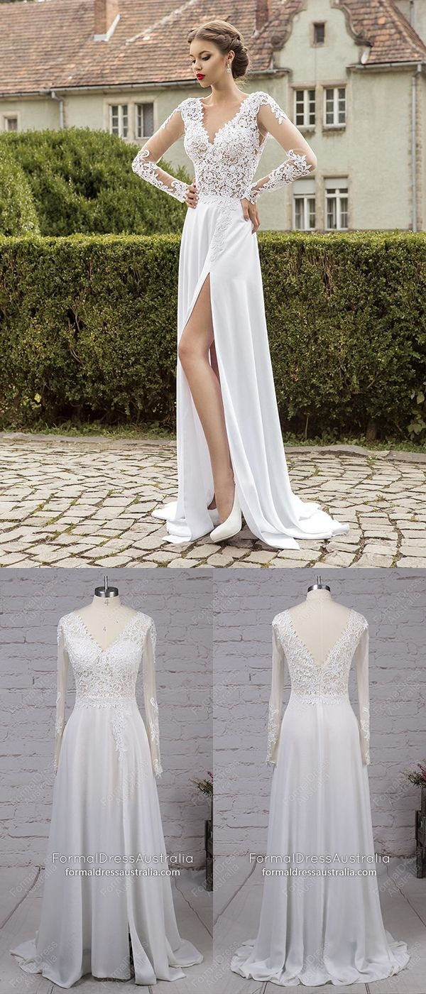Long formal dresses white a line prom dresses with long sleeve v