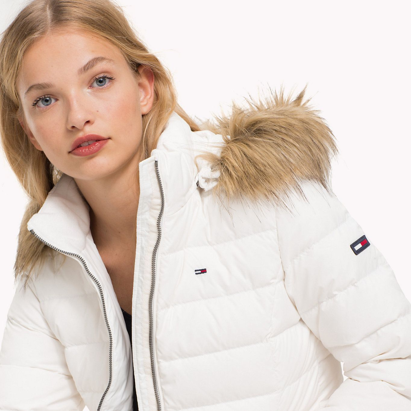 Tommy Jeans Sustainable Padded Down Jacket Snow White Tommy Jeans Women Detail Image 3 White Puffer Jacket Woolrich Parka Women White Puffer Coat [ 1364 x 1364 Pixel ]