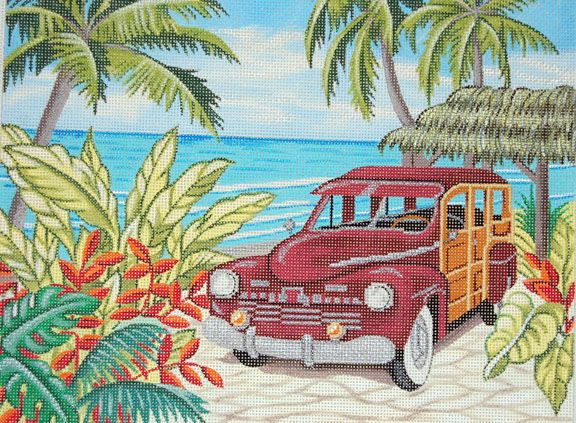 Woody in Paradise, by Alice Peterson - from Needlepoint, etc. - Honolulu, Hi