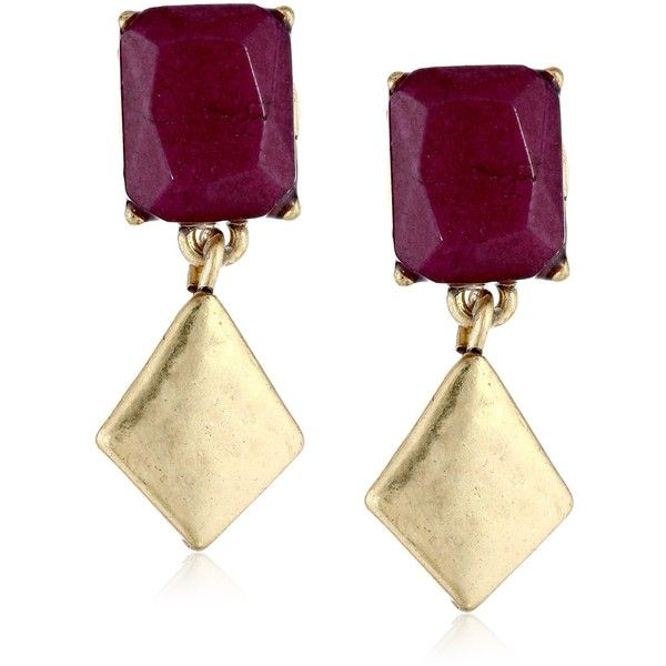 Lucky Brand Red Jade Double Drop Earrings ($9.35) ❤ liked on Polyvore