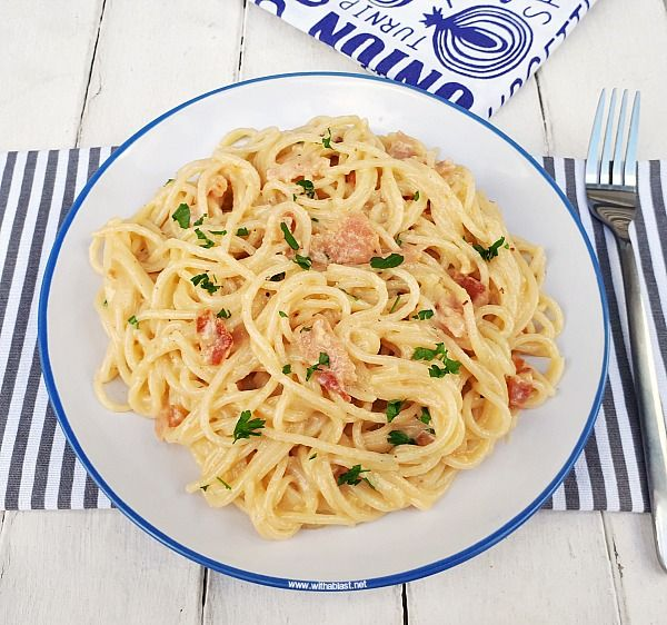 Delicious Pasta Carbonara Made From Scratch In The Middle ...  Delicious Pasta Carbonara