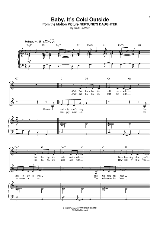Baby It S Cold Outside Sheet Music Christmas Piano Sheet Music