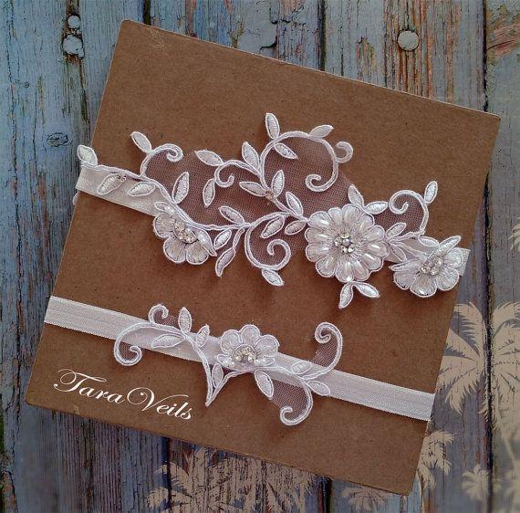 Wedding Garter Songs: Wedding Garter, Bridal Garter, White Garter, Wedding