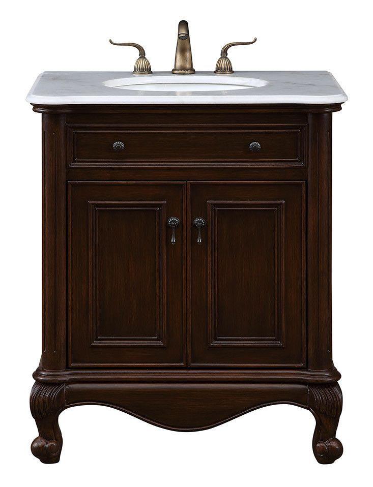 """30"""" Single Bathroom Vanity set in Teak color"""