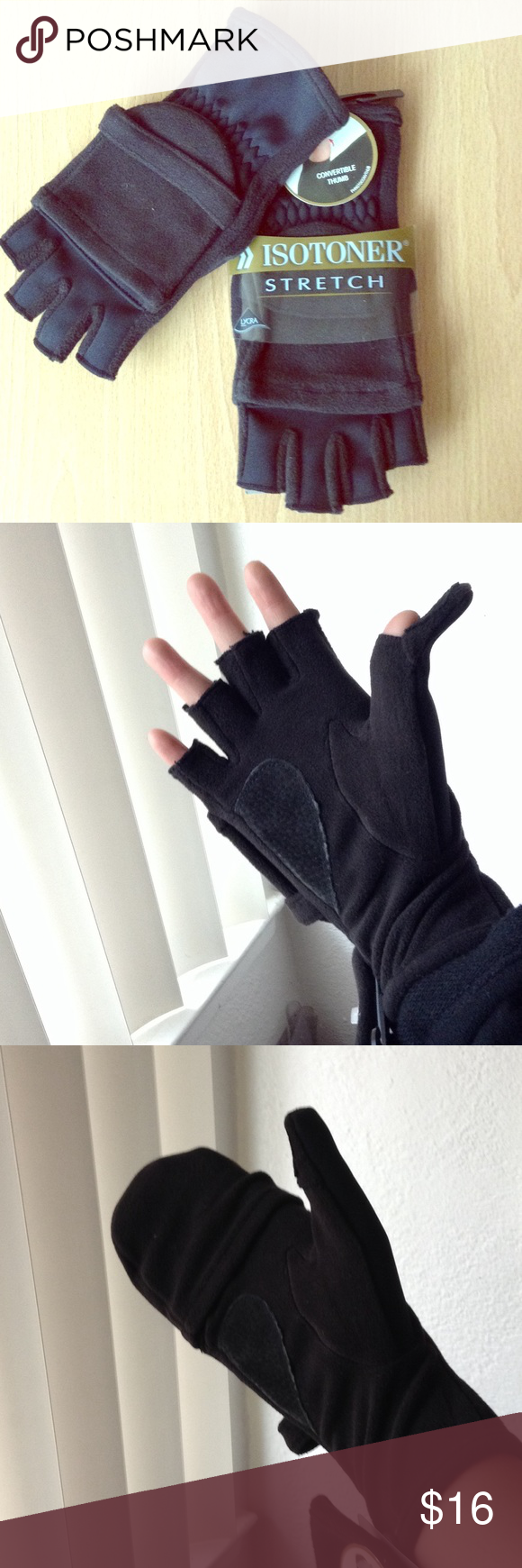 Isotoner Stretch Gloves NWT. Can be used as fingerless gloves or as mittens. One size. Isotoner Accessories Gloves & Mittens