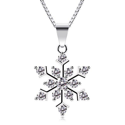 1bf97cce6 B.Catcher Sterling Silver Sparking Cubic Zirconia Snowflake Pendant Necklace,  18