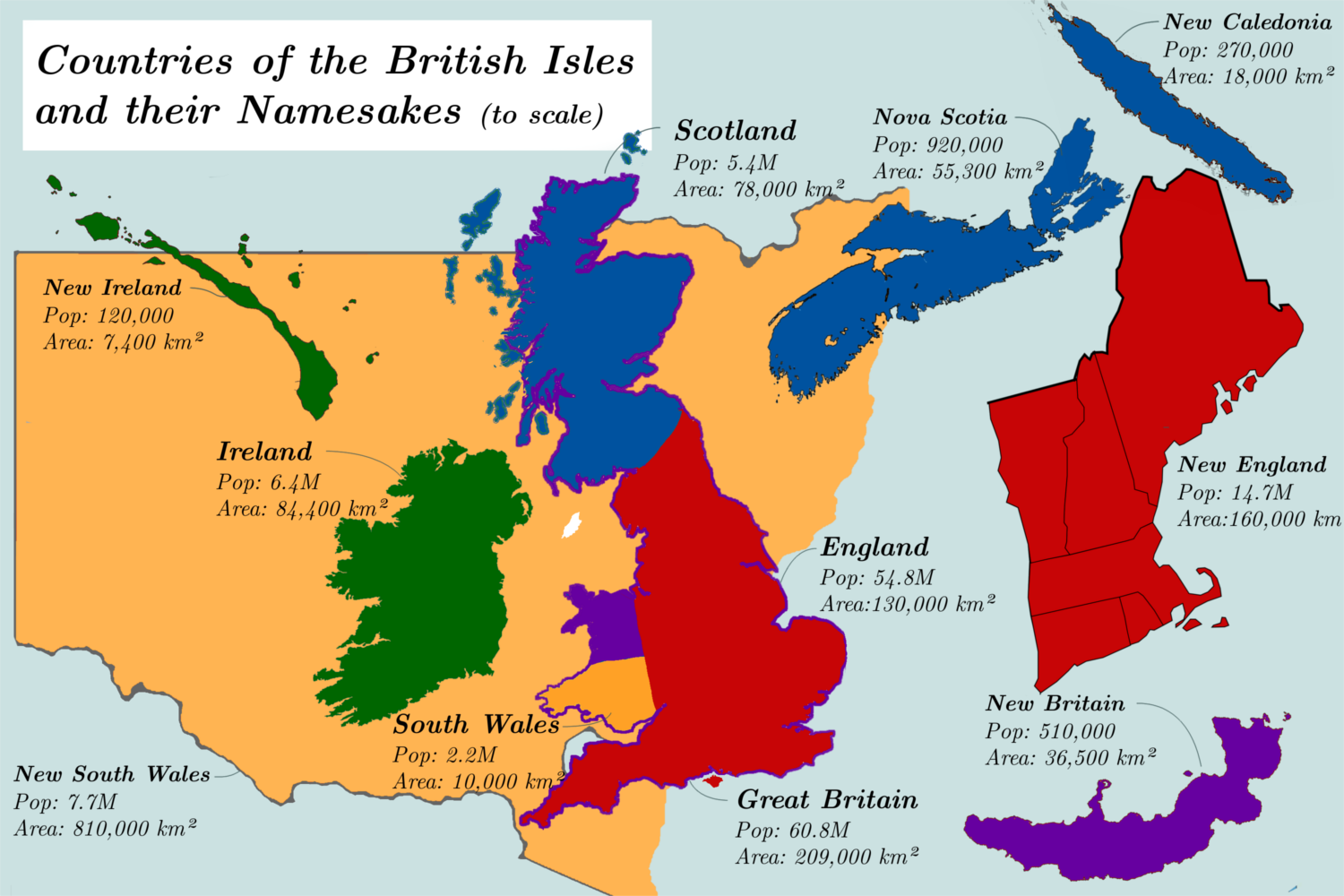 Countries Of The British Isles And Their Namesakes To Scale 1500x1000 Oc British Isles Map British Isles Geography Map
